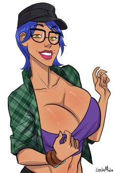 Busty Blue Haired Dame by StickyMon