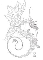 Long Faery Dragon Ink by Scellanis