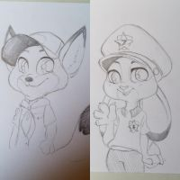 Young Nick Wilde and Judy Hopps by Viodino