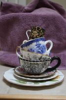 Stacked Tea Cups by GreenEyezz-stock