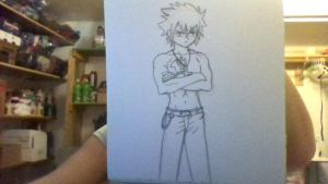 Gray From Fairy Tail (pencil not erased) by iamanimegirl12