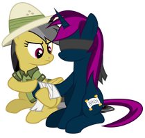 Be careful next time! - Daring Do and Vanisher by Omega-Wing