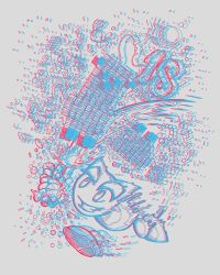 B-day Line Art Challenge 3D Red blue Anaglyph by West-Ninja