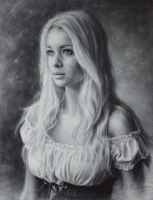 Portrait of beauty girl in a beautiful dress. 2015 by Drawing-Portraits