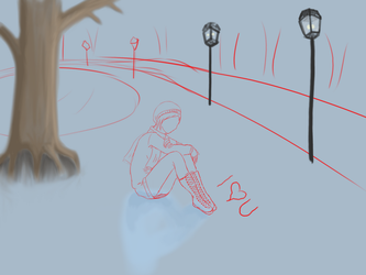 Sitting In Snow WIP by imagine-all-the-art