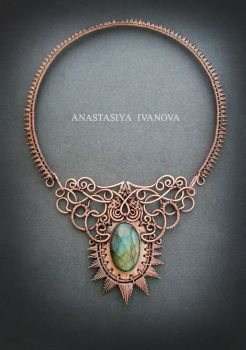 copper necklace with labradorite by nastya-iv83