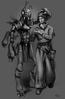 Thri-Kreen and Wizard by cqb