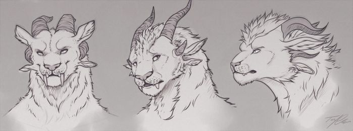 Charr face-doodles by Tenynn