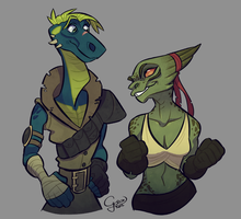 Argonian Buttons + Meg by GalooGameLady
