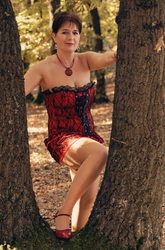Lady in red corsette dress in the forest 2 by hotzone1492
