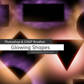 Glowing Shapes Borders Photoshop and GIMP Brushes by redheadstock