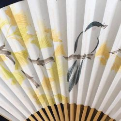 Yellows and blues, Japanese handpainted fan by catherinejao