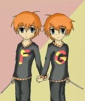 Fred and George Weasley by TwistedTaboo