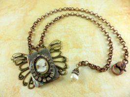 Metal Cameo Butterfly Collage Pendant Necklace by DryGulchJewelry