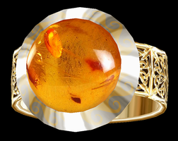 Aletheia Gold Ring with Amber by LilipilySpirit