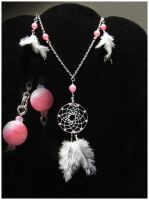 Fuksia agate - jewelry set by SaQe