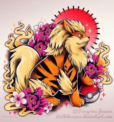 Arcanine and Pokeball comission by RetkiKosmos
