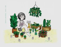 Crazy plant lady by TailyCaos