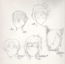 Anime hairstyle sketches by 27Paczkis