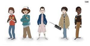 Stranger Things kids line up by x2nat