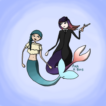 Aqua and Mermaidia by anahbois