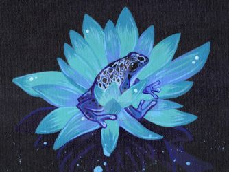 Blue lotus frog... by Angeldess