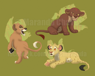 Spotted Lion Cubs by Coloran