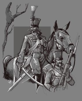 Napoleonic Austrian Hussar and Infantry NCO by cwalton73