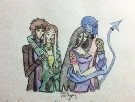 Gambit,Rogue,Nightcrawler and my OC Raven, by sesshomarulover36