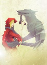 Red Hood and Wolf by flaiil