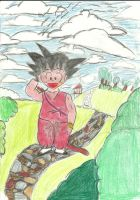 My first drawing ever Kid Goku by TheMagicUnderpants