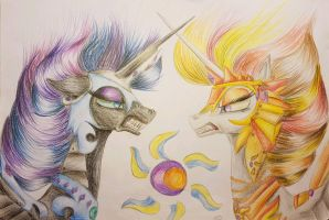 Nightmare Moon vs Daybreaker by iSeppe
