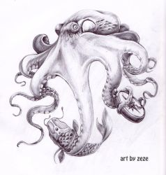 octopus design for leg tattoo by ZOOMZOOMMM