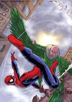 SPIDEY VS VULTURE COVER by deemonproductions