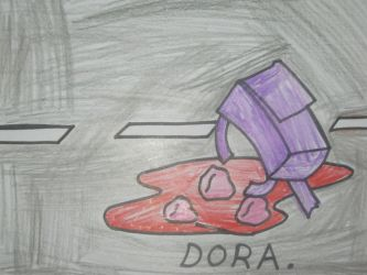 Dora leave her guts on a road. by citytoon
