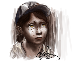 Clementine Crying - The Walking Dead by Elizeon