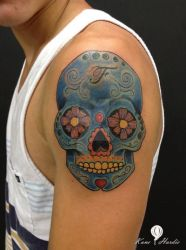 Blue Sugar Skull by shear-atmos-fear