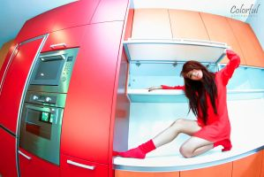 red kitchen by dantoadityo