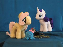 Fluttershy and Rarity Plushies by Yukizeal