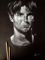 Gale Harold white pencil drawing on black paper by l3earFat
