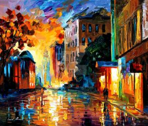 Yellow Town by Leonid Afremov by Leonidafremov