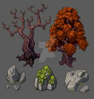 Rocks and Tree assets Commissioned by danimation2001