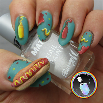 3D Hot Dog Nail Art by Ithfifi