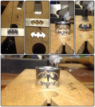 Batman symbol couples ring set sterling silver by Ro-Bo
