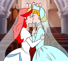 Ariel x Cinderella wedding (drawing) by Arendellecitizen