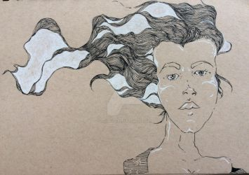 White pen on brown paper by TryingItFirst