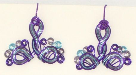 Purple Peacock Earrings by Catgoyle