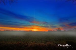 Colorful Sunrise At A Foggy Morning by chevyhax