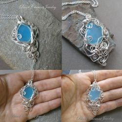 Blue Chalcedony and Sterling Silver - two pendants by blackcurrantjewelry