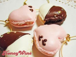 Heart macaron charms by rriee